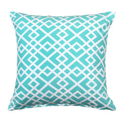 "LaCozi - ""Shasa"" Mint and White Throw Pillow - So long, stripes and solids! This intricately patterned pillow has arrived to make a statement in your favorite setting. Plus, it's quality crafted of 100 percent cotton with double-stitched seams to really go the distance in your decor."