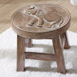 Grandin Road - Elephant Petite Wooden Footstool - Charming hand-carved stool with an elephant or shell design on top. Provides the perfect little solution to a seating or shelf need. Solid mango wood with a weathered finish. Not for use inside shower. Place our Petite Wooden Stool anywhere you need a perfect little perch. Distressed mango wood features a hand-carved design atop sturdy legs. Use it to stack towels, as a footrest while shaving or as a handy table beside the tub.  .  .  .