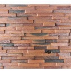 3-D Random Plank, 11 3/4x23 1/2, Antique Wood Mosaic Sheet - wood mosaic sheet