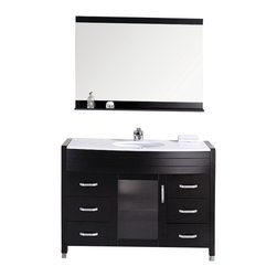 """Design Element - Waterfall 48"""" Single Sink Vanity Set, Espresso, White Top - The Waterfall 48"""" stone-top vanity set is elegantly constructed of quality woods. The composite white stone countertop and designer oval under-mount sink add a crisp and contemporary look to any bathroom. This stylish design includes a soft-closing cabinet door and six pullout drawers all adorned with satin nickel hardware. Included is a framed mirror with shelf. The Waterfall Bathroom Vanity is designed as a centerpiece to awe and inspire the eye without sacrificing quality functionality or durability."""