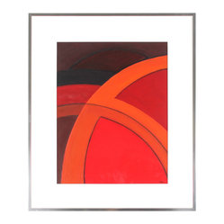 Bold Contemporary Abstract - Add vibrancy to your walls with this vivid geometric abstract painting by artist Warren Snodgrass. The soaring arcs will look incredible on your wall, perfectly outlined by the polished metal frame.
