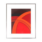 Lost Art Salon - Bold Contemporary Framed Original Abstract - Add vibrancy to your walls with this vivid geometric abstract painting by artist Warren Snodgrass. The soaring arcs will look incredible on your wall, perfectly outlined by the polished metal frame.