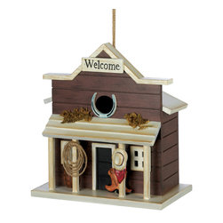 KOOLEKOO - Welcome Saloon Birdhouse - Hungry travelers will love to belly up to this birdie bar! Quaint saloon-style birdhouse adds a touch of dashing prairie style to your outdoor living space, with plenty of visitors for your endless enjoyment.