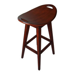 Carolina Accents - Thoroughbred Backless Wood Swivel Stool in Cherry Finish - Inspired by a classic antique, this wood swivel stool will be a standout as part of your home's decor. Finished in a rich cherry stain, the stool has a shaped oval seat with handles for easy transport and will bring both rustic and modern design elements to any interior design. Return swivel seat. Made from wood. 22.50 in. L x 14.88 in. W x 20.38 in. HOur Thoroughbred Stools are replicas of an antique with modern flair. The curved seats are deceptively comfortable and feature a return swivel mechanism.