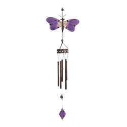 """GSC - 38.5"""" Copper Toned Wind Chime with Purple Butterfly in Flight - This gorgeous 38.5"""" Copper Toned Wind Chime with Purple Butterfly in Flight has the finest details and highest quality you will find anywhere! 38.5"""" Copper Toned Wind Chime with Purple Butterfly in Flight is truly remarkable."""