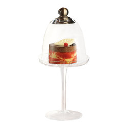 """Home Essentials - Terra Dessert Cupckae Dome with Stand - A favorite dessert deserves a special presentation. The Terra Pedestal Glass domed cake Stand makes your cupcakes, truffles, mini quiche or cheese look all the more delectable and serves as a graceful centerpiece!  * Dimensions 10.2"""" Height"""
