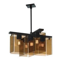 Sonneman Lighting - Sonneman Lighting 3165.51 Bronze Age 5-Light Square Pendant Light In Black Brass - Sonneman Lighting 3165.51 Bronze Age 5-Light Square Pendant Light In Black Brass