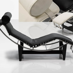 Modern Chaise Lounge in Black - Make your rest more comfortable with this Modern Chaise Lounge by Dupen Furniture. The piece features durable metal frame with chrome finish and comfy lounge surface in black. The head cushion provides extra comfort. Available in Black and White.