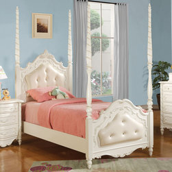 "Acme Furniture - Pearl White Poster Full Bed - Pearl White Poster Full Bed; Finish: Pearl White; Dimensions: 79""H"