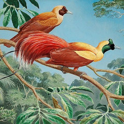 Magic Murals - Red Birds of Paradise Wallpaper Wall Mural - Self-Adhesive - Multiple Sizes - Ma - Red Birds of Paradise Wall Mural