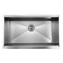 """Ukinox - Ukinox DSL813 Undermount Single Bowl Stainless Steel Kitchen Sink - Ukinox's high-end stainless steel sinks are known for their superior functionality, durability, and ability to delight the designer in all of us. The Ukinox DSL813 features a zero-radius undermount sink with a deep, beveled bottom. This sink features a special cut-out on the inside of the rim that fits a hardwood cutting board (included) that slides from side to side, making it as functional as it is fashionable.  Features: Premium single bowl stainless steel kitchen sink. Fine quality sink bowl formed of 18 gauge Type 304 18/10 nickel bearing stainless steel. Sound absorbing pads and special paint applied to the underside of the sink to dampen sound. Made in Europe. Sinks include all basket strainers, mounting hardware and cut-out template. Standard 3-1/2"""" drain opening compatible with most garbage disposal systems. Specifications: Total Product Length: 32 in. Total Product Width: 18.5 in. Sink Depth: 10 in. Sink Gauge: 18. Product Weight: 30 lbs. Material: Stainless Steel. Installation Type: Undermount. Number of Basins: Single Basin. cUPC Certified?: Yes."""