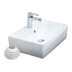 CeraStyle - 22 Inch Wall Mounted or Vessel Sink - 22 inch square bathroom sink made out of high quality white ceramic. Sink can be wall mounted or used as a vessel sink. Includes overflow and a single faucet hole. Sink is ADA Compliant. Made by luxury Turkish brand CeraStyle.