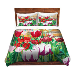 DiaNoche Designs - Duvet Cover Microfiber by Paul Cadieux - Satin Hearts - Super lightweight and extremely soft Premium Microfiber Duvet Cover in sizes Twin, Queen, King.  This duvet is designed to wash upon arrival for maximum softness.   Each duvet starts by looming the fabric and cutting to the size ordered.  The Image is printed and your Duvet Cover is meticulously sewn together with ties in each corner and a hidden zip closure.  All in the USA!!  Poly top with a Cotton Poly underside.  Dye Sublimation printing permanently adheres the ink to the material for long life and durability. Printed top, cream colored bottom, Machine Washable, Product may vary slightly from image.
