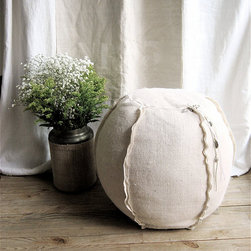 Burlap Pouf/Ottoman By lovintage finds - I love the handmade look to this ottoman and the unexpected beach ball shape. It would also be a great display piece for books or a favorite (non-breakable) item.