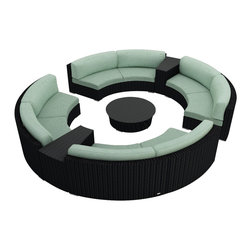 Harmonia Living - Urbana Eclipse 7 Piece Round Sectional Set, Spa Cushions - Create the perfect outdoor gathering with the Harmonia Living Urbana Eclipse 7 Piece Modern Patio Curved Sectional Sofa Set with Turquoise Sunbrella cushions (SKU HL-URBN-E-7SECT-SP), featuring clean curves and brushed aluminum feet. This curved sofa sectional's seating is a great match for patios with fire pits or circular tables. The seats are made of High-Density Polyethylene (HDPE) wicker infused with a coffee bean color and UV protection, surpassing the quality of natural rattan. Underneath the resin wicker is a thick-gauged aluminum frame, providing superior corrosion resistance. Few round modern patio sofa sets offer this level of quality and design at such an affordable price. Fire pit not included.