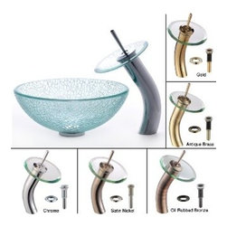 Kraus - Kraus Mosaic Glass 14 inch Vessel Sink and Waterfall Faucet Satin Nickel - *Add a touch of elegance to your bathroom with a glass sink combo from Kraus