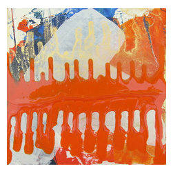 "Color Saturation Series: ""Juicer"" by Austin Allen James, 48x72 - From his Color Saturation Series, Austin Allen James brings us ""Juicer."" This energetic abstract painting features intense washes of orange and cobalt blue on a field of grayish white, with touches of metallic gold. A strong horizon line invites movement and lyricism to the piece, for which the artist is well known. This mixed media painting on board is coated with a resin clear coat to preserve and enhance the complex layers of this one of a kind abstract. The glossy surface invites the viewer to experience the artwork ""through a looking glass."" This colorful painting can easily serve as the foundation of a well appointed roomscape. Choose the ""Juicer"" style in the size of your choosing, with a 2"" depth. Each painting is made to order as a one of a kind commission; inherent variations make each piece it's own unique treasure. Learn more about the artist in his feature as a Moss Manor 2014 Guest Curator."