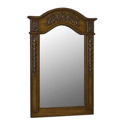 Belle Foret - Belle Foret Carved Portrait Mirror, Medium Oak (80036) - Belle Foret 80036 Carved Portrait Mirror, Medium Oak