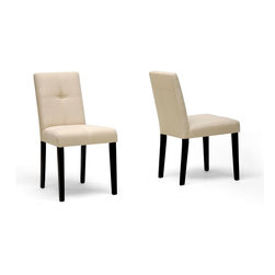 Baxton Studio - Baxton Studio Elsa Beige Fabric Modern Dining Chair (Set of 2) - Casual and neutral, the Elsa Dining Chair is a brilliant contemporary creation featuring the best of both worlds: style and comfort.  Each chair is made with a dark brown wooden frame, foam cushioning, and a quilt-stitch effect beige fabric seat.  The Elsa Chair requires assembly.
