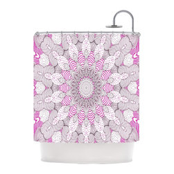 """Kess InHouse - Monika Strigel """"Dots and Stripes Pink"""" Shower Curtain - Finally waterproof artwork for the bathroom, otherwise known as our limited edition Kess InHouse shower curtain. This shower curtain is so artistic and inventive, you'd better get used to dropping the soap. We're so lucky to have so many wonderful artists that you'll probably want to order more than one and switch them every season. You're sure to impress your guests with your bathroom gallery in addition to your loveable shower singing."""