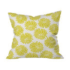 DENY Designs - Khristian A Howell High Society Throw Pillow, 18x18x5 - Don't toss this one. Whether your style is modern, cottage, country, traditional or eclectic, you'll want to hold this pillow tight. Large golden peonies burst against an ivory background printed front and back on woven polyester. The bright color and happy print will add cheerful softness to any sofa, bed or bench.