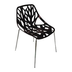 Mod Made Furniture - Mod Made Net Chair in Black (Set of 2) - An abstract design on the seat adds a unique element to this Plastic Net Chair. The simple frame draws guest attention to the artistic pattern carved into the seat section of this fan favorite. Guests will be lining up to ask where to find this Plastic Net Chair for their own home.