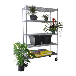 """Trinity - Five Tier NSF All Weather Shelving Rack - Features: -Shelving rack. -Nickel, chromium, and copper plating- -All weather coated heavy duty steel wire. -NSF, food-safe certified. -600 lbs weight capacity per shelf. -4"""" swivel casters - two with locks, two without locks. -Shelves are adjustable at 1"""" increments. -600 lbs total weight capacity on casters. -Assembly required. -One year warranty. -Dimensions: 72"""" - 77"""" H x 48"""" W x 18"""" D."""