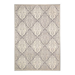 """Nourison - Nourison Graphic Illusions GIL08 2'3"""" x 3'9"""" Ivory Area Rug 13152 - This sensational area rug's high-low loop pile construction and detailed hand carving create an exciting depth and dimension that radiates an unstoppable sensuality. An over scale diamond design and an understated tone-on-tone color palette of grey and ivory add dramatic flair to a classic damask pattern."""