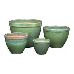Jade Maylay Planters - Add a touch of jade with a few pretty glazed ceramic Maylay planters.