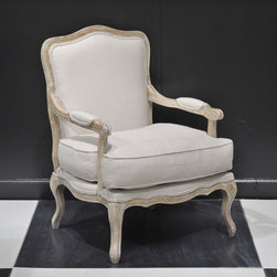 My Two Designers - Gretta Chair - This beautiful bergere chair has been updated with a Natural White Wash finish and white French Linen upholstery. A perfect chair to add to the living room in an unused corner by the fireplace or anywhere you want to inject some sophisticated style. This family-run furniture company features pieces inspired from classic handcrafted antiques to 19th century-style pieces. The quality and the finishes are top of the line.