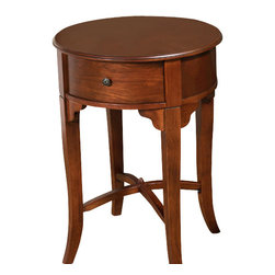 All Things Cedar - Round Drawer Side Table - Classic Accents: A truly inviting selection of Classic Accent Furniture FEATURING Console Sofa Tables Wooden Wine Magazine Racks, Nesting Tables, and Glass Cherry Curio Cabinates. Item is made to order.
