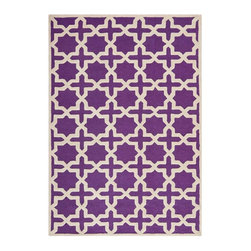 """Safavieh - Callum Hand Tufted Rug, Purple / Ivory 2'6"""" X 4' - Construction Method: Hand Tufted. Country of Origin: India. Care Instructions: Vacuum Regularly To Prevent Dust And Crumbs From Settling Into The Roots Of The Fibers. Avoid Direct And Continuous Exposure To Sunlight. Use Rug Protectors Under The Legs Of Heavy Furniture To Avoid Flattening Piles. Do Not Pull Loose Ends; Clip Them With Scissors To Remove. Turn Carpet Occasionally To Equalize Wear. Remove Spills Immediately. Ancient symbols combine to create a chic interpretation of transitional Moroccan style in the beautifully textured Sahara area rug. Hand-tufted of superior wool pile and crafted to endure, this simple but striking rug contrasts plush and pile textures for rich dimension."""