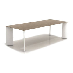 B&T Design - Manu Table, Natural Veneer Wooden Table Top, Static Painted Metal Frame, Large - Manu Table