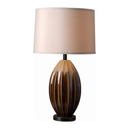 Kenroy - Kenroy-32042CAR-Cocoon - One Light Table Lamp - Organic and artsy, Cocoon brings a refreshing informal, relaxed attitude to your decor. Its lustrous Ceramic glaze, in earthy tones, surround its fluted and pod-like figure.