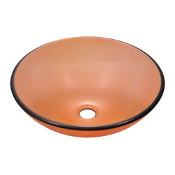"""MR Direct - MR Direct 601 Coral Coloured Glass Vessel Sink - The 601-Coral glass vessel sink is manufactured using fully tempered glass. This allows for higher temperatures to come in contact with your sink without any damage. Glass is more sanitary than other materials because it is non-porous, will not absorb stains or odors and is easy to clean. This classic bowl-shaped vessel is made with coral-tinted glass which can add a fun pop of color to any bathroom. A matching glass waterfall faucet is available to correspond with this sink. The overall dimensions for the 601-Coral are 16 1/2"""" Diameter x 5 3/4"""" Height and an 18"""" minimum cabinet size is required.  As always, our glass sinks are covered under a limited lifetime warranty for as long as you own the sink."""
