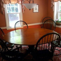 Round Table And Black Windsor Chairs In Clients Home - Made by http://www.ecustomfinishes.com