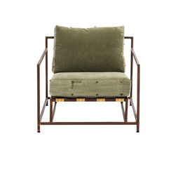 Stephen Kenn - The Inheritance Collection Armchair - Composed of a steel welded frame with a marbled, rust brown finish, custom webbing belts, smooth leather straps and re-purposed WWII military fabric for the cushion covers.