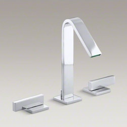 KOHLER - KOHLER Loure(R) widespread bathroom sink faucet with lever handles - Combining a sleek profile with enhanced utility, Loure introduces a classically modern look to your bath decor. This strikingly contemporary sink faucet offers a stately design with clean, smooth lines. A pair of minimalist lever handles provide for comfo