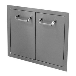 """HBI - Hasty-Bake 24"""" Stainless Steel Standard Double Access Doors (24DD-STD) - These doors feature sturdy 18 gauge all Stainless (304 grade material) single wall construction, trouble free hinges, and chrome plated handles. Flat bezel lays flush to cabinet surface. Available in numerous sizes."""