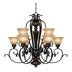 Golden Lighting - Jefferson 2-Tier Chandelier - Bulbs not included. Requires nine incandescent type A 60 watt medium base bulbs. Nine E27 sockets. Total wattage: 540. Electric wire gauge: 20288# SPT-1 +340cm 18# 105 degree C. Traditional style. Sculpted arms. Decorative brace and intricate feel. Thick antique marbled glass shade. UL listed for dry location. Made from metal and poly resin. Etruscan dark bronze color. Wire length: 10 ft.. Chain length: 6 ft.. Glass shade: 7 in. Dia. x 4.5 in. H. Canopy: 6.38 in. Dia.. Overall: 37 in. W x 33 in. H. Warranty. Assembly Instructions