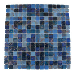 "Lake Blue Glass Tile - Lake Blue 3/4"" x 3/4"" Glass Tile This lake blue glass tiles can make a dramatic statement in any style kitchen, bathroom, or any decorated room in your home. The mesh backing not only simplifies installation but it also allows the tiles to be separated which adds to their design flexibility. Chip Size: 3/4""x3/4"" Color: Shades of Blue Material: Glass Finish: Stained Sold by the Sheet - each sheet measures 13"" x 13"" (1.17 sq. ft.) Thickness: 5mm Please note each lot will vary from the next."