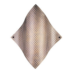 """George Kovacs - George Kovacs Perforated Steel 17"""" High Wall Sconce - This George Kovacs wall sconce design offers stunning contemporary good-looks. Contoured perforated steel comes in a lustrous brushed steel finish. Underneath a white diffuser helps create a warm glow. A perfect choice for hallways bedrooms baths and more. Brushed nickel finish. White diffuser. ADA compliant. Takes one 60 watt bulb (not included). 17"""" high. 14 1/2"""" wide. Extends 4"""" from the wall.  Brushed nickel finish.   White diffuser.   ADA compliant.   A George Kovacs lighting design.  Takes one 60 watt bulb (not included).   17"""" high.   14 1/2"""" wide.   Extends 4"""" from the wall."""