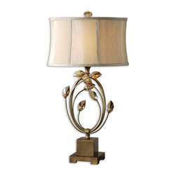 Uttermost - Alenya Gold Table Lamp - There is a table in your home dying to have this statement piece sitting on it. You know the one. By your sofa or armchair. Or in your bedroom on top of your dresser. On on your entryway table. See?