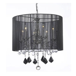 "The Gallery - Crystal Chandelier Chandeliers W/ Large Black Shade, Jet Black Crystal Pendants! - 100% Crystal Chandelier. A Great European Tradition. Nothing is quite as elegant as the fine crystal chandeliers that gave sparkle to brilliant evenings at palaces and manor houses across Europe. This beautiful chandelier has 6 lights and is decorated and draped with 100% crystal that capture and reflect the light of the candle bulbs. This wonderful chandelier also comes with the large shade as shown. The timeless elegance of this chandelier is sure to lend a special atmosphere anywhere its placed! **SHADE INCLUDED** Size: H 19.5"" x W 18.5"" 6 LIGHTS"