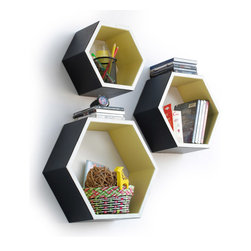 Blancho Bedding - [Classic Style]Hexagon Leather Wall Shelf / Bookshelf / Floating Shelf(Set of 3) - These beautifully Hexagonal Shaped Wall Shelves display the art of woodworking and add a refreshing element to your home. Versatile in design, these leather wall shelves come in various colors and patterns. These elegant pieces of wall decor can be used for various purposes. It is ideal for displaying keepsakes, books, CDs, photo frames and so much more. Install as shown or you may separate the shelves to create a layout that suits your taste and your style. They spice up your home's decor, and create a multifunctional storage unit for all around your home. Each box serves as a practical shelf, as well as a great wall decoration.
