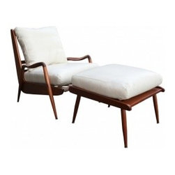 EcoFirstArt - New Hope Lounge Chair and Ottoman Circa 1960s - Clean lines, subtle curves and comfy cushions will keep you lounging in style. Furniture designer Phillip Lloyd Powell first made this set in the 1960s, hand crafted and hand carved from American black walnut.