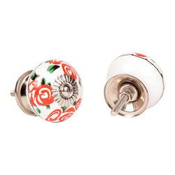 MarktSq - Ceramic Knob With Red Roses (Set Of 2) - Hand painted with a beautiful red roses. (Set of 2)