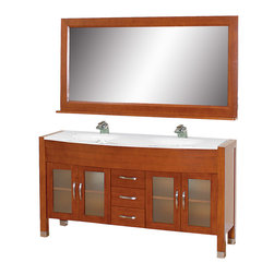 "Wyndham Collection - Daytona Bathroom Vanity in Cherry, White Stone Top, White Integral Sinks - The Daytona 63"" Double Bathroom Vanity Set - a modern classic with elegant, contemporary lines. This beautiful centerpiece, made in solid, eco-friendly zero emissions wood, comes complete with mirror and choice of counter for any decor. From fully extending drawer glides and soft-close doors to the 3/4"" glass or marble counter, quality comes first, like all Wyndham Collection products. Doors are made with fully framed glass inserts, and back paneling is standard. Available in gorgeous contemporary Cherry or rich, warm Espresso (a true Espresso that's not almost black to cover inferior wood imperfections). Transform your bathroom into a talking point with this Wyndham Collection original design, only available in limited numbers. All counters are pre-drilled for single-hole faucets, but stone counters may have additional holes drilled on-site."