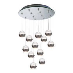 W.A.C. Lighting - W.A.C. Lighting QMP-LED311/12-MR Genesis LED Modern / Contemporary Chandelier - With dual uplight and downlight LED engines, Genesis integrates high performance with ambient lighting. An evolutionary design in a diminutive size resulting in a stunning decorative accent.