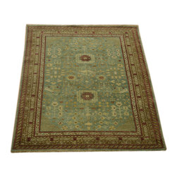 1800-Get-A-Rug - Oriental Rug Sky Blue Khotan Hand Knotted Rug Sh10633 - About Wool Pile